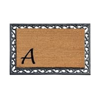 A1HC First Impression Beige/Black Rubber Tray Mat with Monogrammed Coir Insert (24X36)