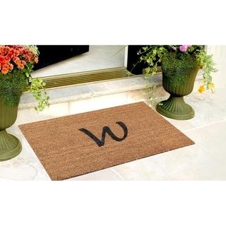 A1HC First impression Plain Coir Monogrammed Doormat (18 x 30)