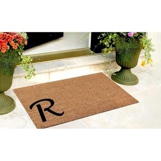 A1HC First impression Plain Coir Monogrammed Doormat (1'6 x 2'6)