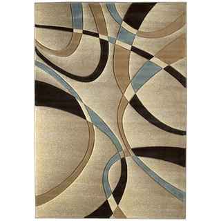 United Weavers Contours La Chic Beige/Blue Polypropylene Area Rug (12'6 x 15')
