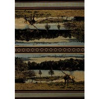 United Weavers Contours Antler Lake Blue Area Rug (12'6 x 15') - 12' x 15'