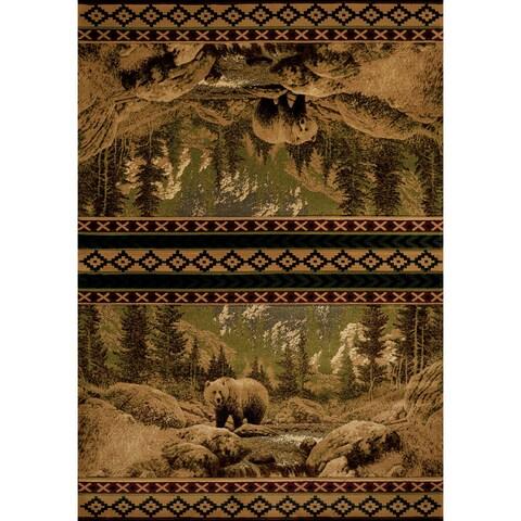 United Weavers Contours Beige Scenic Bear Area Rug (12'6 x 15') - 12' x 15'