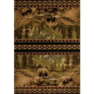 United Weavers Contours Beige Scenic Bear Area Rug (12'6 x 15')