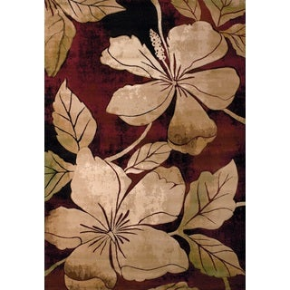 United Weavers Contours Floral Canvas Burgandy/Beige Polypropylene Area Rug (12'6 x 15')