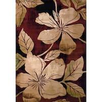 United Weavers Contours Floral Canvas Burgandy/Beige Polypropylene Area Rug - 12' x 15'