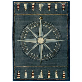 United Weavers Contours Compass Rose/Blue Polypropylene Area Rug (9'2 x 12'6)
