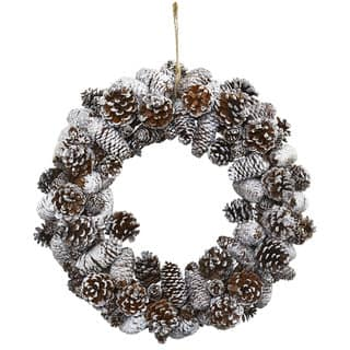 Nearly Natural Snowy Pinecone Wreath|https://ak1.ostkcdn.com/images/products/13208631/P19928097.jpg?impolicy=medium