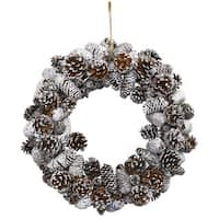 Nearly Natural Snowy Pinecone Wreath