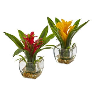 Nearly Natural Red/Yellow Bromeliad with Vase Arrangement (Set of 2)