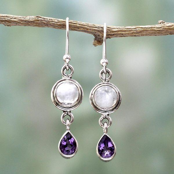 Handmade Sterling Silver 'Purple Droplets' Amethyst Rainbow Moonstone Earrings (India)