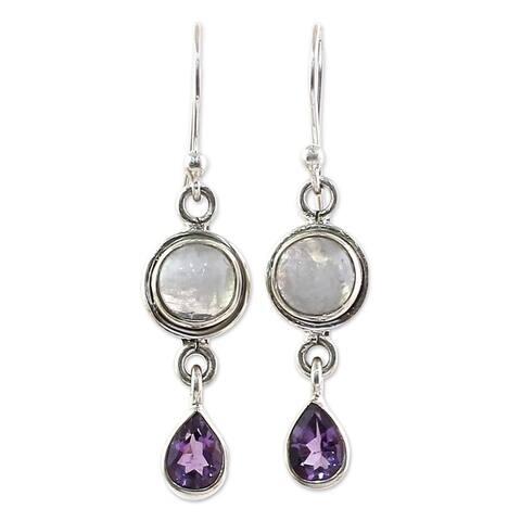 Handmade Sterling Silver Amethyst Moonstone Earrings (India)