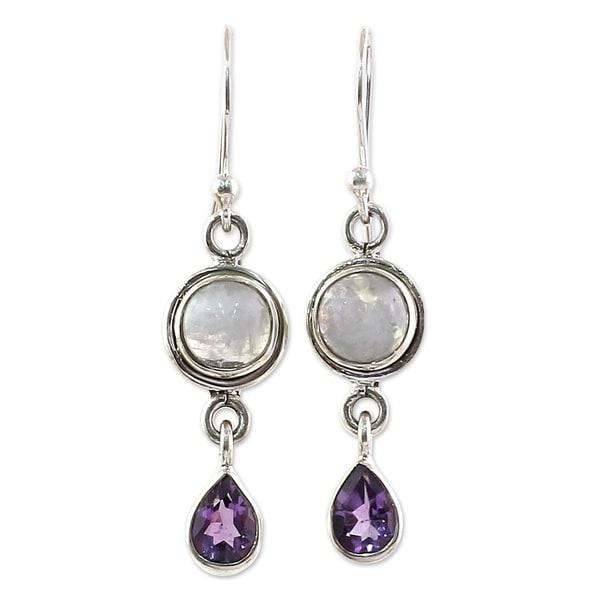 86d690eceac3b Shop Handmade Sterling Silver Purple Droplets Amethyst Rainbow ...