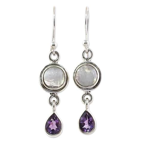 Handmade Sterling Silver Purple Droplets Amethyst Rainbow Moonstone Earrings (India)