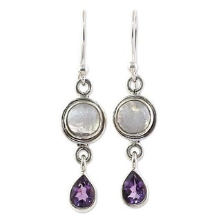 Handmade Sterling Silver 'Purple Droplets' Amethyst Rainbow Moonstone Earrings (India)