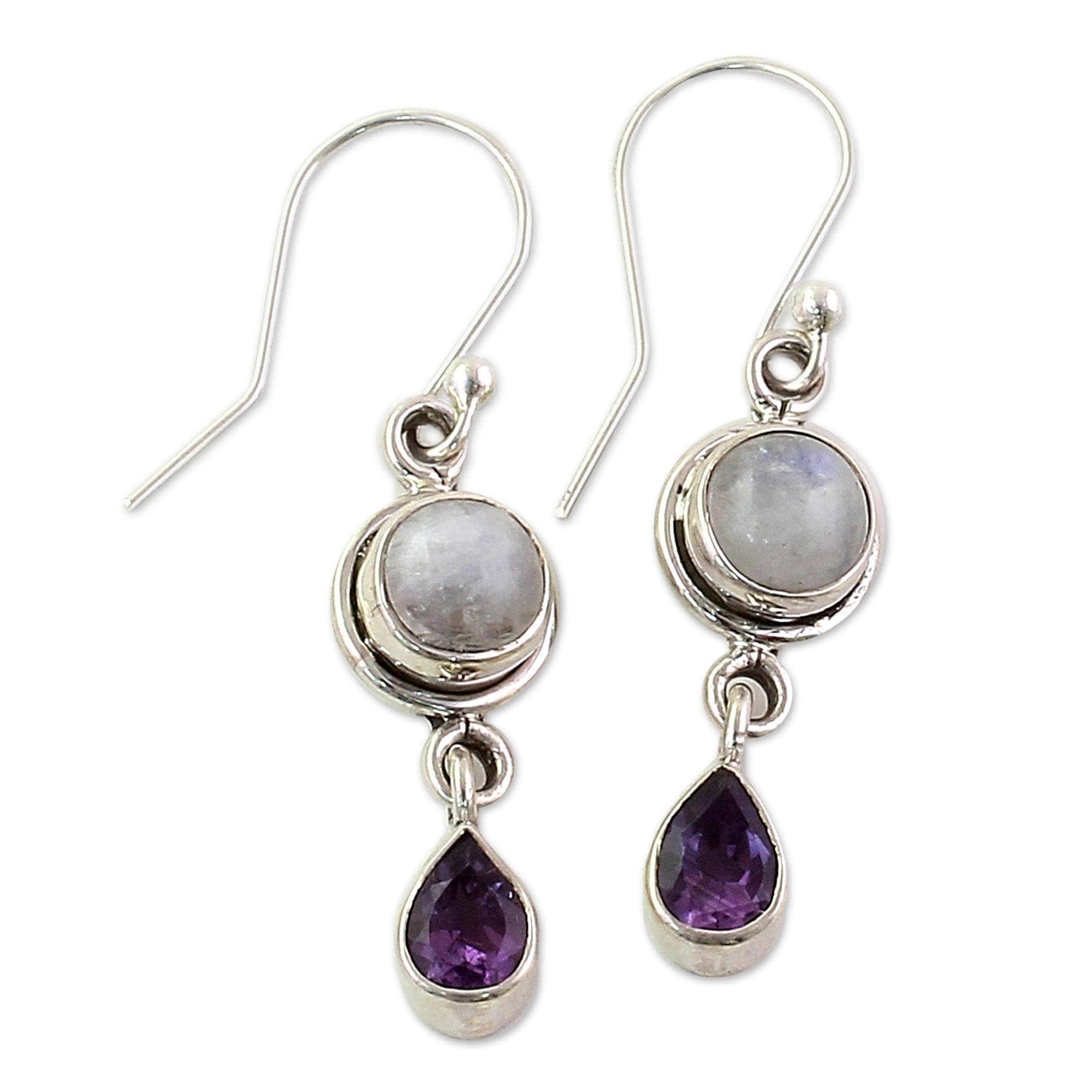 Anniversary  Square Round Moonstone Earrings Hook Eardrop Gemstone Ear Studs