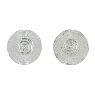 Handcrafted Sterling Silver 'Spring Spirals' Earrings (Thailand)