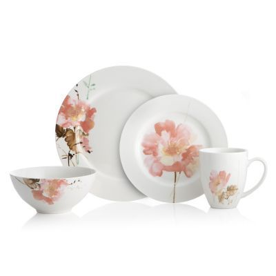 Oneida Amore White/ Pink Porcelain 32-piece Dinnerware Set (Service for 8)  sc 1 st  Overstock & Oneida Amore White/ Pink Porcelain 32-piece Dinnerware Set (Service ...