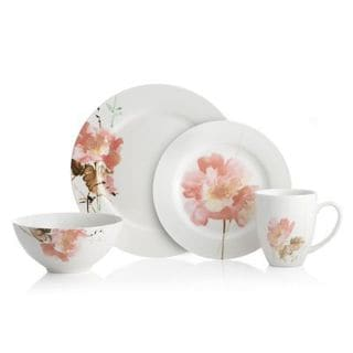 Oneida Amore White/ Pink Porcelain 32-piece Dinnerware Set (Service for 8)