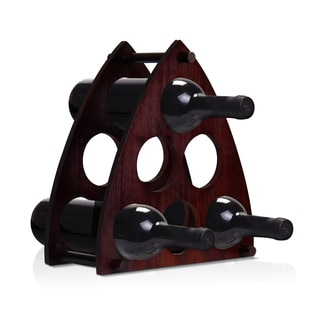 Furinno Black Wood Pyramid Creative Wine Rack
