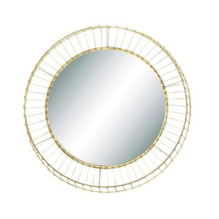 Benzara Goldtone Metal and Glass 31-inch Round Wall Mirror