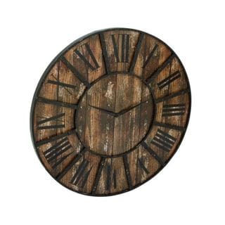 Benzara Black and Brown Metal and Wood 36-inch Diameter Clock