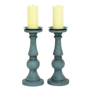 Havenside Home Buckroe 2-piece Blue Candle Holder Set (15'' x 6'')