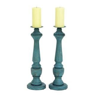 Benzara Blue Plastic Candle Holders (Set of 2)