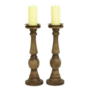 Benzara Brown Plastic 6-inch Wide x 19-inch High Candle Holders (Set of 2)