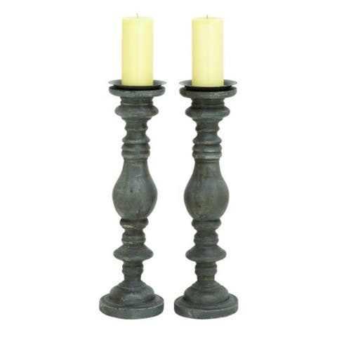 The Gray Barn Amber Hollow Black Plastic Candle Holders (Set of 2)
