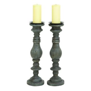 Benzara Black Plastic Candle Holders (Set of 2)