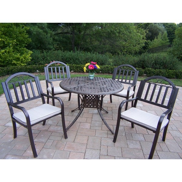 5 pc. Dining Set with 42-in. Table and 4 Cushioned, High-Back Chairs