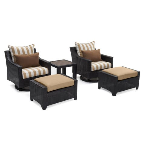 RST Brands Deco Maxim Beige Sunbrella and Resin Wicker 5-piece Deluxe Motion Club Chair and Ottoman Set