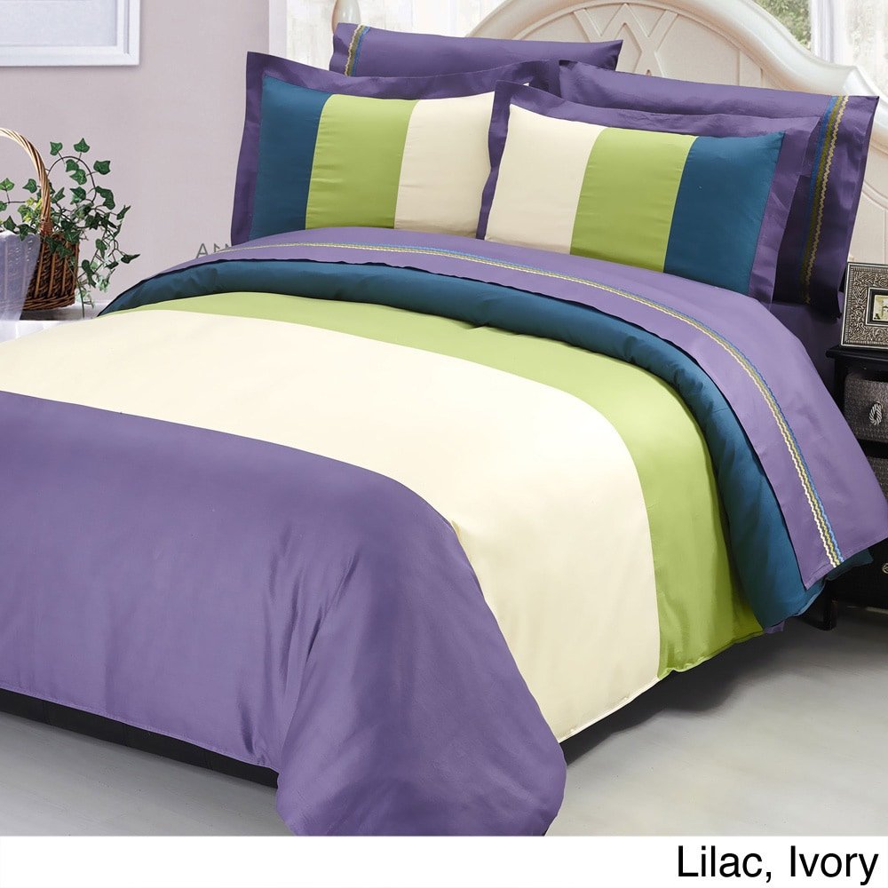 serenta multicolored cotton  piece duvet cover and sheet set  - picture  of