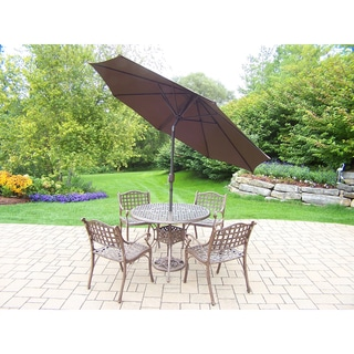 Link to 7 Pc Dining Set with table, 4 chairs, Tilt & Crank Umbrella and Stand Similar Items in Outdoor Dining Sets