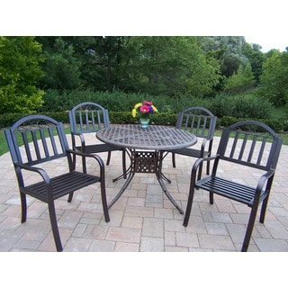 Hometown 5-Piece Dining Set with 42-inch Table and 4 High-Back Chairs