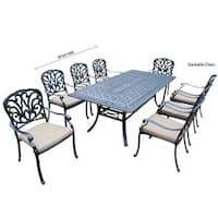 9 pc Dining Set with Rectangle Table, 8 Stackable Chairs and Cushions