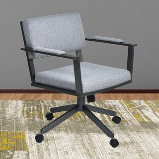 Armen Living Cairo Mineral and Grey Fabric Director Tilt Caster Swivel Arm Chair