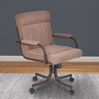 Armen Living Vancouver Auburn Bay and Brown Microfiber Caster Tilt Swivel Arm Chair