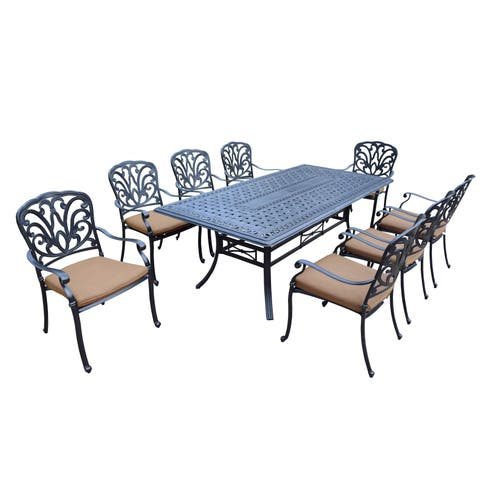 9 Pc Dining Set with Rectangle Table, 8 Stackable Chairs with Cushions