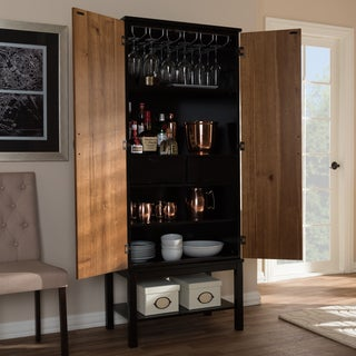 Baxton Studio Marya Mid-Century Modern Dark Brown and Walnut Two-Tone Veneered Wine Cabinet