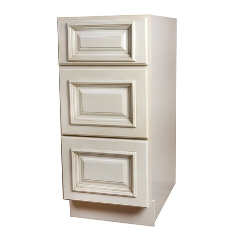 Tuscany White Wood 3-drawer Base Cabinet