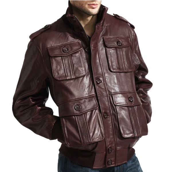 Men's Burgundy Lambskin Leather Cargo Bomber Jacket