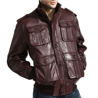 Men's Burgundy Lambskin Leather Cargo Bomber Jacket (Option: 46r)