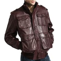 Men's Burgundy Lambskin Leather Cargo Bomber Jacket