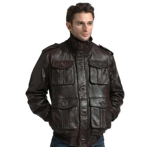 Men's Brown Lambskin Leather Cargo Pocket Bomber Jacket