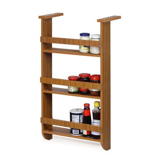 Furinno Cherry Wood Refrigerator Wall Storage Organizer Rack