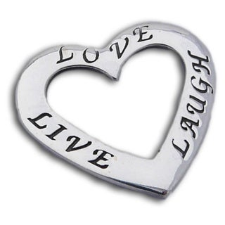 Sterling Silver 'Live, Love, Laugh' Heart Pendant (Thailand)
