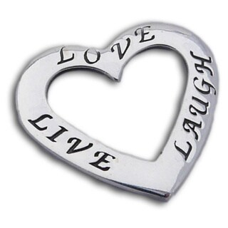 Handmade Sterling Silver 'Live, Love, Laugh' Heart Pendant (Thailand)