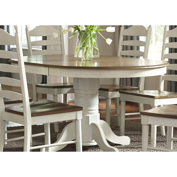 Liberty Furniture Springfield 7 Piece Pedestal Table Set: Springfield Farmhouse 42x60 Single Pedestal Oval Dinette
