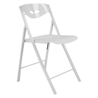 Radiant White Wood and Steel Space-saving Folding Chairs (Set of 2)